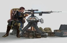 Mounted Tesla sniper by Rhys Griffiths Steampunk Characters, Dnd Characters, Fantasy Characters, Steampunk Artwork, Steampunk Weapons, Fantasy Weapons, Fantasy Rpg, High Fantasy, Character Concept
