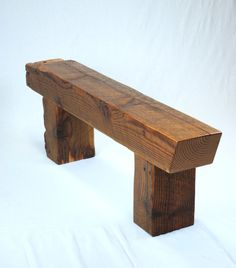 Rustic bench coffee table rough cut pine by for Reclaimed wood beams los angeles
