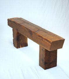 Timber Frame Beam Bench in Reclaimed Fir by JonathanJanuary