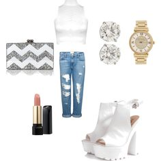 Outfit #5 by douthdes on Polyvore featuring polyvore interior interiors interior design home home decor interior decorating WearAll Frame Denim Glamorous Edie Parker Michael Kors Lancôme