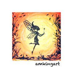 Fairy sundance. Miniature picture in mixed media