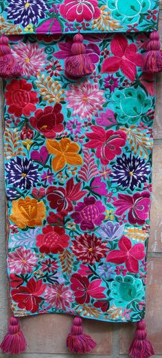 RFT23 Aqua Floral Guatemalan Table Runner Large with Tassels