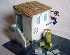 Italy 1944 Diorama Paper Model In 1/35 Scale - by Best Paper Models == This WW2 free paper model diorama in 1/35 scale includes: paved road with small Italian house with stairs, oil drum, boxes, posters, newspapers, road posts, maps. By Best Paper Models website.