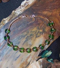 FREE S Bracelet- Fire Polished Beads/Gold Wire Wrapped Bangle- A JewelryArtistry Original - BR16