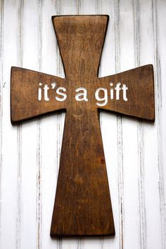 wooden cross Easter Lent Church or home decor engraved words It's a gift. $60.00, via Etsy.