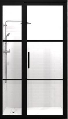 Gridscape Gs2 2 Panel Corner Shower Door In Black With