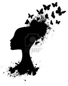 Profil Silhouette einer afrikanischen Frau mit Schmetterlingen platzt aus Stockfoto - 12403157