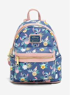backpacks The perfect backpack for a beach trip! This periwinkle blue mini backpack from Disney'sLilo & Stitchand Loungefly features an allover print inspired by Hawaiian tropical print and Stitch Disney, Lilo Y Stitch, Cute Stitch, Stitch Doll, Cute Purses, Purses And Bags, Stitch Backpack, Cute Mini Backpacks, Vetement Fashion