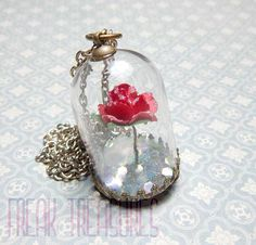 Beautiful necklace with a glass dome pendant within Belles winter rose with glitter frosts and floating iridescent jumbo glitters! You can choose
