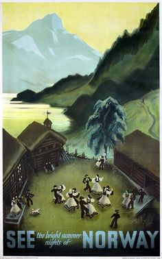 Old Beautiful Norway Travel Poster Plakat Damsleth, Myres See Norway Offset 1937 x 24 in. x 61 cm) Printer: Norsk Lithografisk Officin, Oslo Retro Poster, Poster Ads, Poster Vintage, Travel Ads, Travel Photos, Beautiful Norway, Tourism Poster, Visit Norway, Norway Travel