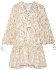 Rachel Zoe - Tasseled Metallic Fil Coupé Silk-blend Mini Dress - Ivory