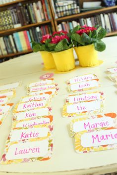 Idea for name tags using blank notecards.
