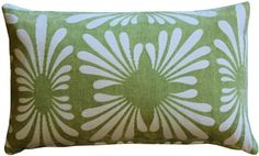 The Velvet Daisy Green rectangular pillow features a subtle daisy pattern in white contrasted against a soft green velvet background.