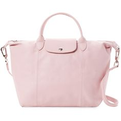 Longchamp Le Pliage Cuir Medium Leather Tote - Pink ($439) ❤ liked on Polyvore featuring bags, handbags, tote bags, pink, leather purses, pink tote, foldable tote bags, leather tote bags and pink leather tote bag