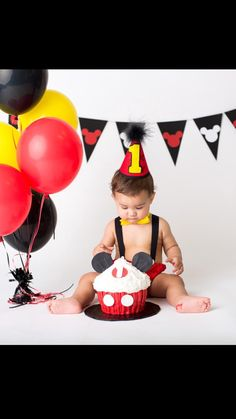Boy Disney Mickey Mouse Cake Smash Birthday Outfit by CuteAsClaire