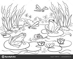 dibujos para pintar adultos - Buscar con Google Animal Coloring Pages, Colouring Pages, Coloring Books, Animal Drawings, Cute Drawings, Lake Animals, Silhouette Clip Art, Ecole Art, Thread Painting