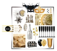 """Black, Silver & Gold New Year"" by dlmusiel ❤ liked on Polyvore featuring interior, interiors, interior design, home, home decor, interior decorating, Dom Pérignon, Riedel, Arteriors and Regina-Andrew Design"