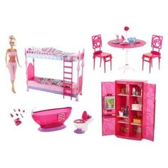 barbie doll and furniture gift set game time home barbie doll house furniture sets