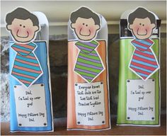 Father's Day Gift    This is a tie themed candy bar pocket that kids will enjoy making for their dads.  This downloadable  packet comes with instructions, pictures and printable candy bar pocket.  Insert your dads favorite candy bar into this fun candy bar holder and make dad smile. These would also make present toppers. Download, print and party!