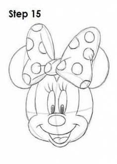 How to draw Minnie Mouse - Step 15 Minnie Mouse Drawing, Mickey Mouse Drawings, Minnie Mouse Cake, Cartoon Drawings, Minnie Mouse Movies, Mini Mouse Cartoon, Minnie Mouse Decorations, Easy Disney Drawings, Disney Sketches