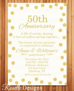 50th Anniversary Invitation  50th Birthday by RosetteDesigns, $8.25