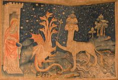 La Bête de la Mer (Tapisserie de l'Apocalypse) / The Beast of the Sea (Tapestry of the Apocalypse) The Apocalypse Tapestry is a large medieval French set of tapestries commissioned by Louis I, the Duke of Anjou, and produced between 1377 and 1382. (Revelation 13:1)