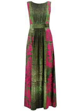 Forest green fushsia embroidered pleated long dress available only at Pernia's Pop-Up Shop.