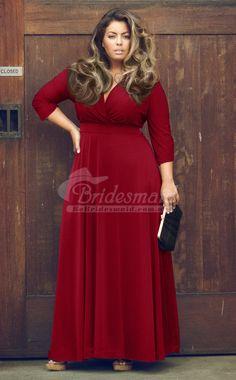 Custom Made V-Neck Floor Length Burgundy Plus Size Bridesmaid Dresses(PSDBB043)