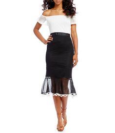 8046a2881f Gianni Bini Katrina Two Toned Mesh Off the Shoulder Dress  Dillards Metallic  Cocktail Dresses