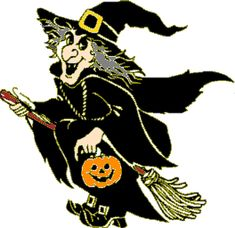 Green Halloween Witches On Brooms | My Halloween Witches: Witches On Their Brooms
