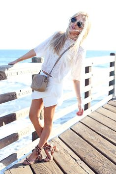 Peace Love Shea wearing the Zara Skort