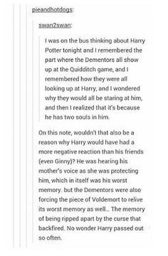 Very interesting theory about Harry having two souls for the dementors!!