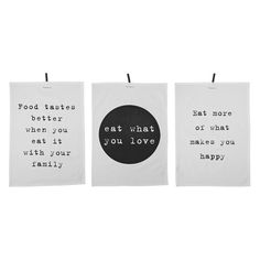 Black and White Cotton Kitchen Towel with Text, Set of 3 What Makes You Happy, Are You Happy, White Tea Towels, Love Eat, Happy Family, Kitchen Towels, Eating Well, Home Decor Inspiration, Cards Against Humanity
