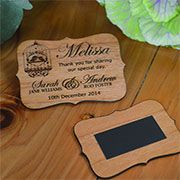 Wooden laser cut favour magnets. These can also double up as placecards NOW AVAILABLE!