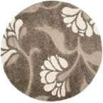 Florida Shag Smoke/Beige (Grey/Beige) 6 ft. 7 in. x 6 ft. 7 in. Round Area Rug