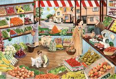 The Green Grocer by Tracy Hall 500 piece jigsaw puzzle