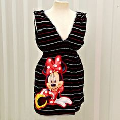 Black Tank Top Minnie Mouse Shirt Womens Tunic by CandyStickLane, $45.00