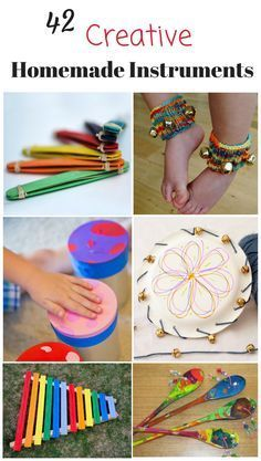 These homemade musical instruments for kids are awesome! Great DIY music instrum… These homemade musical instruments for kids are awesome! Great DIY music instruments for preschoolers and kids – love music activities for children! Instrument Craft, Homemade Musical Instruments, Making Musical Instruments, Toddler Instruments, Children's Instruments, Music For Kids, Diy For Kids, Crafts For Kids, Children Music