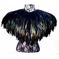 Black feather cape. Large cape of beautiful long iridescent black... ($160) ❤ liked on Polyvore featuring home, home decor, black home decor, black swan and european home decor