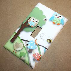 Owls Love Stripes Boys Bedroom Single Light Switch by ToadAndLily, $7.00