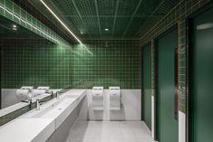 Gender neutral bathroom Australian Interior Design, Interior Design Awards, White Interior Design, Wc Design, Toilet Design, Commercial Design, Commercial Interiors, Wc Public, Senior Living Apartments