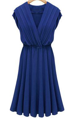 Blue Cap Sleeve V Neck Pleated Dress