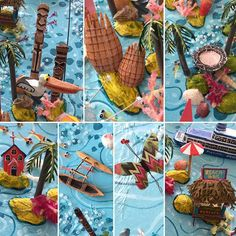 Sara Drake - A few close up details of some of the Pacific Islands from my larger 3dillustrated map of Australasia and Oceania. Islands featured include Fiji, New Caledonia, Vanuatu, Solomon Islands and New Guinea. All the details are handmade from balsa wood, beads and wire and painted with acrylics. See website for more details of the mapmaking process.  www.saradrake.com