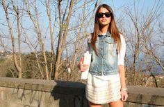 #ChiaraNasti #NastiLove #goldenlook: #tshirt #denim #jacket by #LollyStar