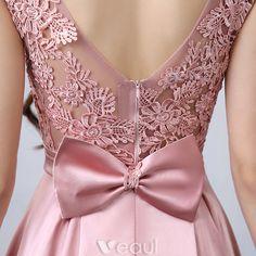Vestidos De Fiesta Hermosos 2016 De Encaje Apliques Escote Cuadrado Vestido Formal De Satén Rosa Con Arco-nudo