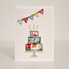 A Fabulous Happy Birthday Cake, served on a sliver stand! Hand drawn, cut and stitched 'free style ' by me on to a quality white card. Your card will be sent to you with an envelope, sealed in a cellophane bag and left blank inside ready for your own . Fabric Cards, Fabric Postcards, Embroidery Cards, Free Motion Embroidery, Freehand Machine Embroidery, Free Machine Embroidery, Birthday Cake Card, Drawn Birthday Cards, Happy Birthday
