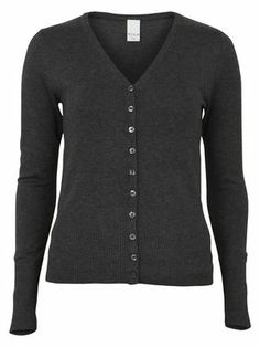 KNIT CARDIGAN, DARK GREY MELANGE, main