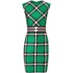 Emma Cook Tartan Print Satin Jersey Dress ($385) ❤ liked on Polyvore featuring dresses, vestidos, green and other, plaid dress, emma cook, print dress, green dress and pattern dress
