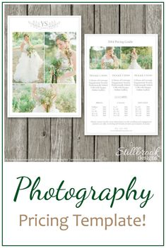 Photography Price List Template Wedding Price Sheet Photographer