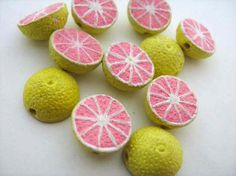 20 Tiny Grapefruit Beads - CB386